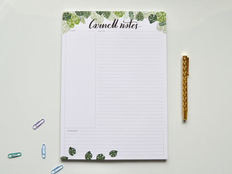 Monstera A4 Cornell Notepad