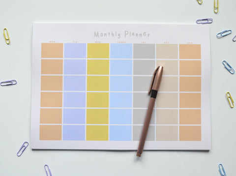 a4 sunrise colourful monthly planner with calendar layout