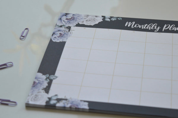 Midnight Roses A4 Monthly Planner