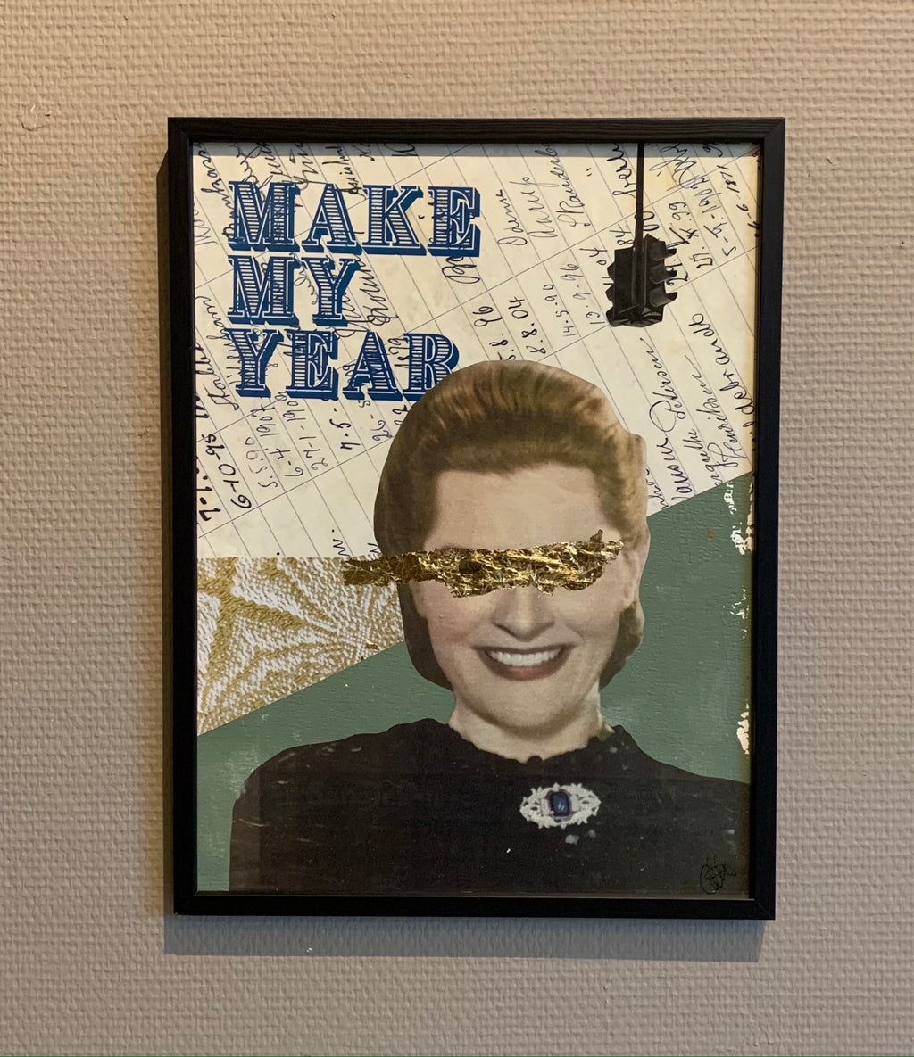 MAKE MY YEAR - framed original on paper 40x30cm