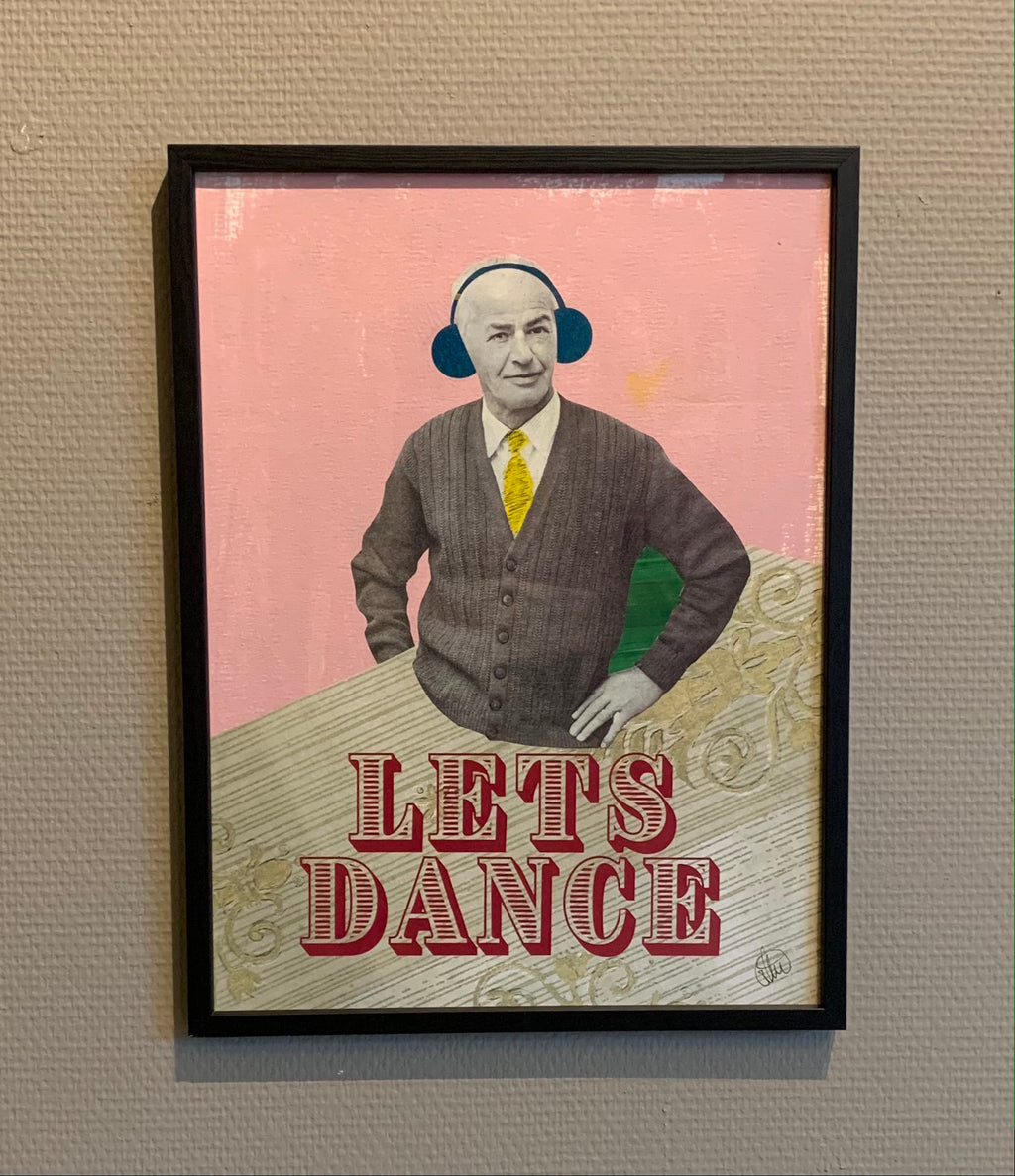 LETS DANCE - framed original on paper 40x30cm
