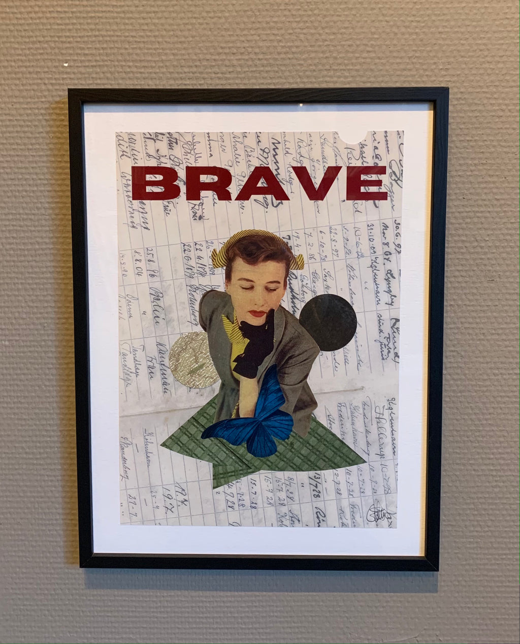 BRAVE - framed original on paper 40x30cm