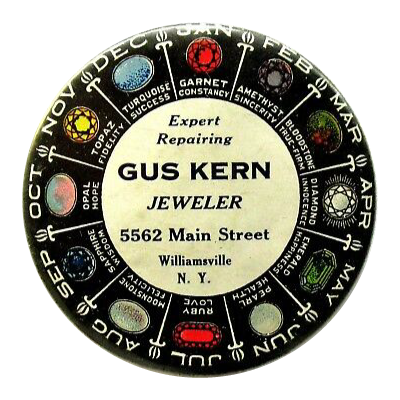 1900's Jewelers Advertising Pocket Mirror Birthstone Chart