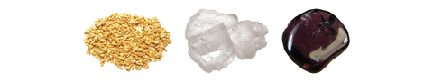 Gold – Halite Salt - Garnet