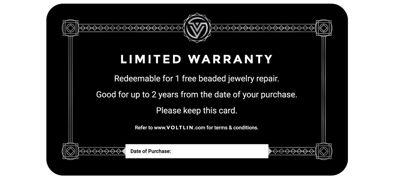 Voltlin Beaded Jewelry Limited Warranty Card For 1 Free Repair