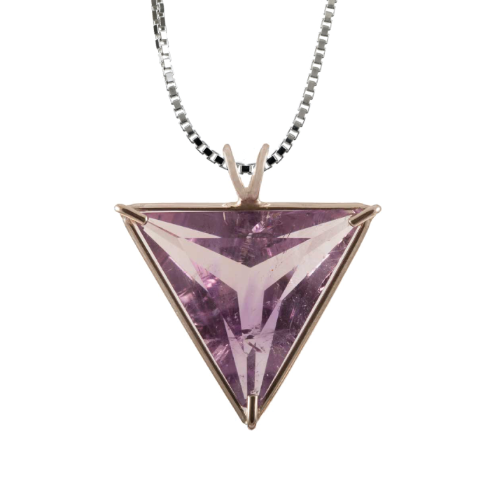 Amethyst Angelic Star Chain Pendant Sacred Geometry Crystal Jewelry, Unisex, Sterling Silver, VOLTLIN