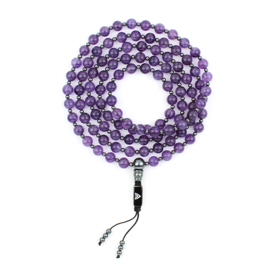 Amethyst 54 & 108 Beaded Mala Crystal & Gemstone Jewelry, Unisex, Black, VOLTLIN