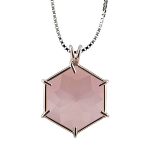 Rose Quartz Flower of Life Chain Pendant