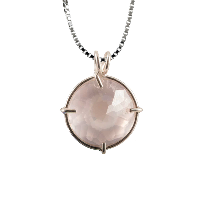 Rose Quartz Radiant Heart Chain Pendant Sacred Geometry Crystal Jewelry, Unisex, Sterling Silver, VOLTLIN