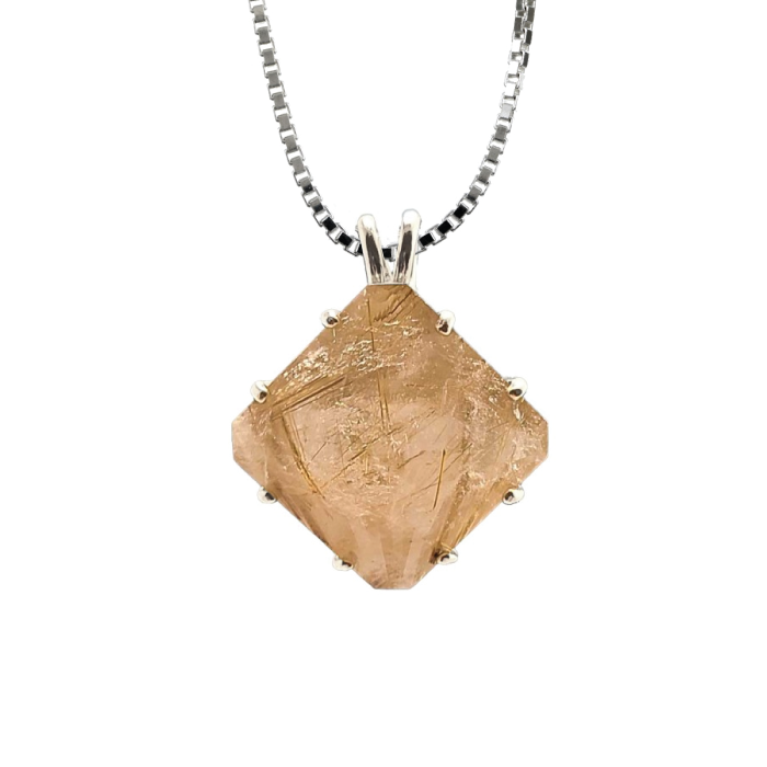 Rutilated Quartz Magician Stone Chain Pendant, Evolution Pendants, Voltlin, Crystal and Gemstone, Beaded, Healing Bracelets, Gemstone Jewelry, Healing Crystals, What Stones Are Best, Necklace, Bead, Prayer Beads, Meditation Stones, Sacred Geometry, Handmade, Handcrafted, Spiritual Jewelry, for Enlightenment, Evolution Pendants