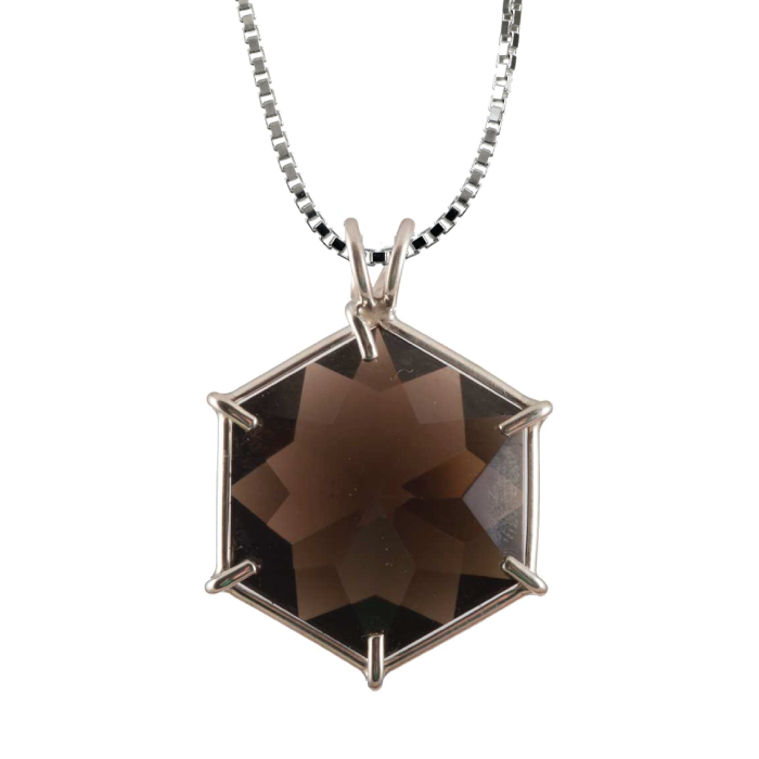 Smokey Quartz Flower of Life Chain Pendant