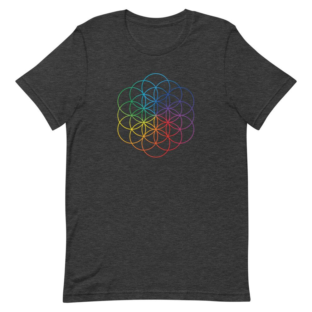 Rainbow Flower of Life Short-Sleeve Unisex T-Shirt, T-Shirts, Voltlin, Crystal and Gemstone, Beaded, Healing Bracelets, Gemstone Jewelry, Healing Crystals, What Stones Are Best, Necklace, Bead, Prayer Beads, Meditation Stones, Sacred Geometry, Handmade, Handcrafted, Spiritual Jewelry, for Enlightenment, Evolution Pendants