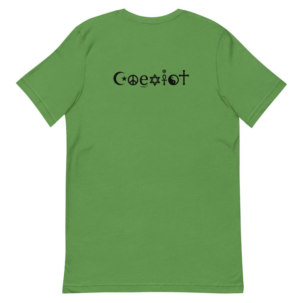 Coexist Short-Sleeve Unisex T-Shirt, T-Shirts, Voltlin, Crystal and Gemstone, Beaded, Healing Bracelets, Gemstone Jewelry, Healing Crystals, What Stones Are Best, Necklace, Bead, Prayer Beads, Meditation Stones, Sacred Geometry, Handmade, Handcrafted, Spiritual Jewelry, for Enlightenment, Evolution Pendants