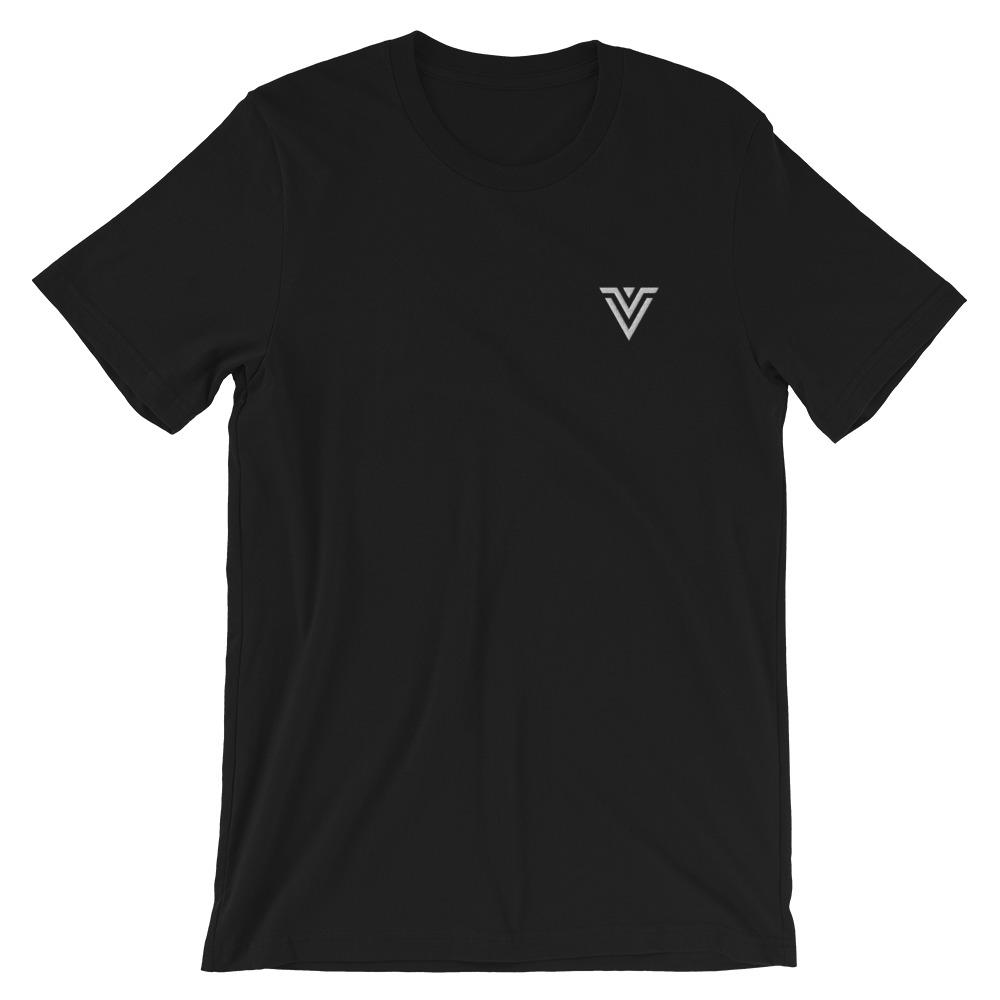 Voltlin Embroidered Logo Short-Sleeve Unisex T-Shirt, T-Shirts, Voltlin, Crystal and Gemstone, Beaded, Healing Bracelets, Gemstone Jewelry, Healing Crystals, What Stones Are Best, Necklace, Bead, Prayer Beads, Meditation Stones, Sacred Geometry, Handmade, Handcrafted, Spiritual Jewelry, for Enlightenment, Evolution Pendants