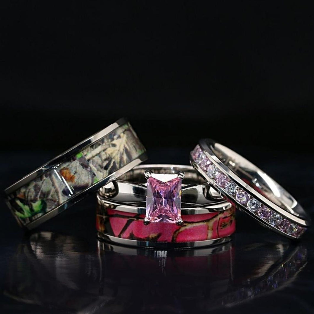 4 pc His and Her Camo Wedding Ring Set Stainless Steel Sterling Silver Camo Rings