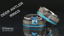 Load and play video in Gallery viewer, 4 pc Deer Antler Ring Set Turquoise Rings His & Her Wedding Ring Set