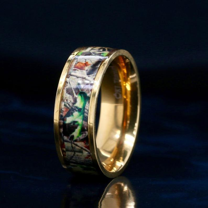14K Gold Camo Ring Camouflage Wedding Band