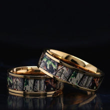 Load image into Gallery viewer, 14K Gold Camo Ring Camouflage Wedding Band