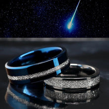 Load image into Gallery viewer, 3pc Tungsten Wedding Bands, His and Her Meteorite Rings, Matching Wedding Bands