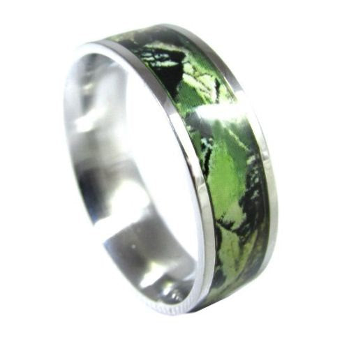 Stainless Steel Green Camo Ring Hunting Camouflage Wedding Band