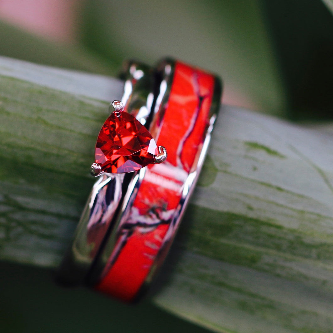 2 pc Red Camo Ring Set Ruby Engagement Rings Sterling Silver Wedding Ring Set