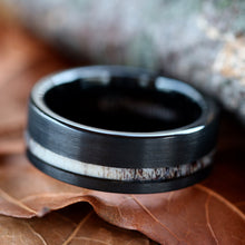 Load image into Gallery viewer, Black Tungsten Deer Antler Ring - Unisex Wedding Band Hunter Ring - FREE Engraving