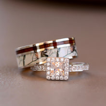 Load image into Gallery viewer, 2 pc White Camo Rings Set Koa Wood Ring Set Silver Engagement Ring