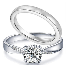 Load image into Gallery viewer, 3 piece Sterling Silver & Stainless Steel Engagement Rings Wedding Ring Set