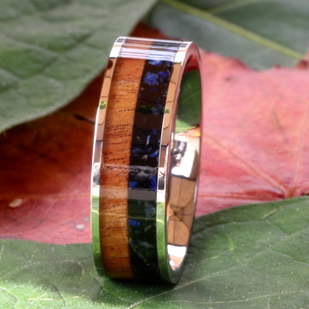 6mm Lapis Lazuli Wedding Band Koa Wood Ring Stainless Steel Engagement Ring - FREE Engraving