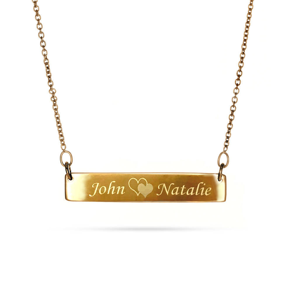 Custom Engraved 14K Gold Plated Name Plate Necklace