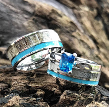 Load image into Gallery viewer, 4 pc Deer Antler Ring Set Turquoise Rings His & Her Wedding Ring Set