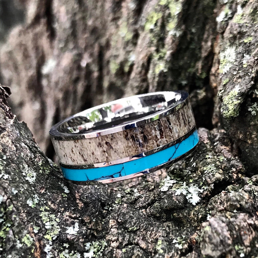 Deer Antler Ring with Turquoise Inlay - Unisex Turquoise Band Wedding Ring