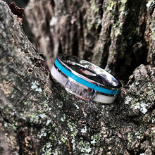 Load image into Gallery viewer, Deer Antler Ring with Turquoise Inlay - Unisex Turquoise Band Wedding Ring