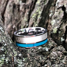 Load image into Gallery viewer, 2 pc Deer Antler Ring Set Turquoise Ring Cubic Zirconia Wedding Ring Set