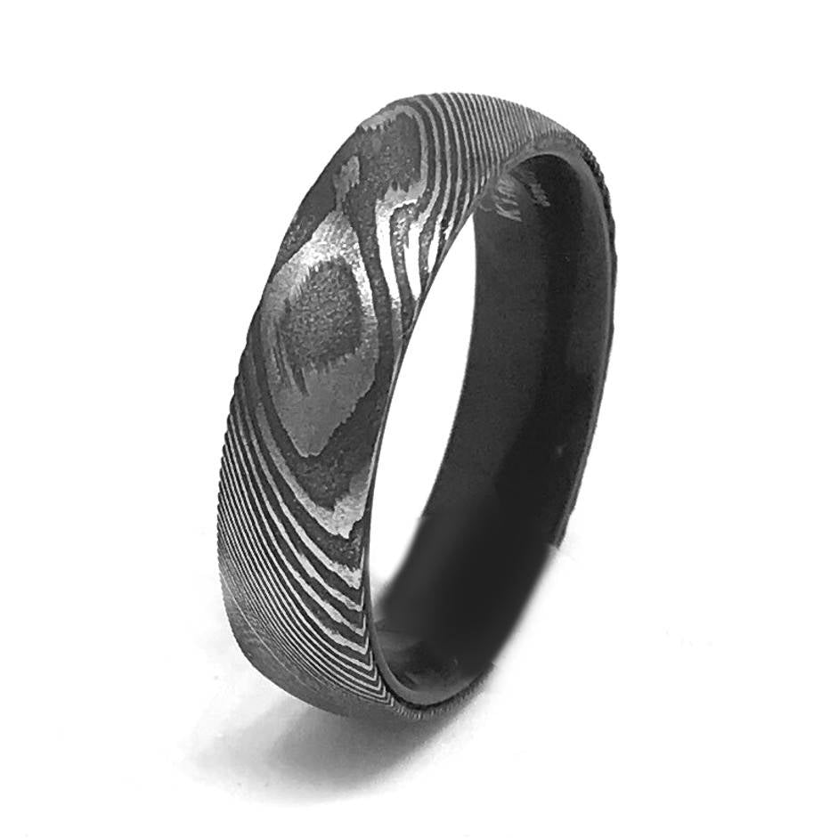 6mm Damascus Steel Ring Mokume Gane Wedding Band