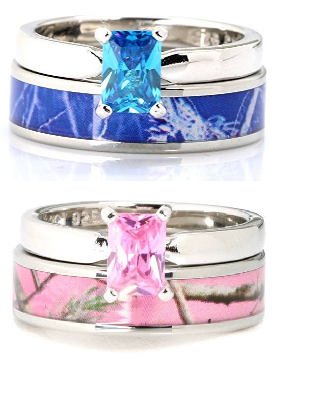 2 pc Blue Camo Ring Set Pink Camo Rings