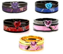 Load image into Gallery viewer, 2 pc Camo Wedding Ring Set Heart Engagement Rings