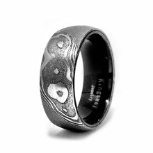 Load image into Gallery viewer, His and Her Damascus Steel Wedding Ring Set Mokume Gane Wedding Band Set
