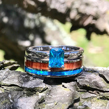 Load image into Gallery viewer, His and Her Opal Wedding Ring Set Wood Wedding Bands Stainless Steel Sterling Silver