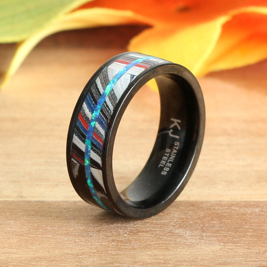 Blue Opal Ring Fordite Black Stainless Steel Wedding Band