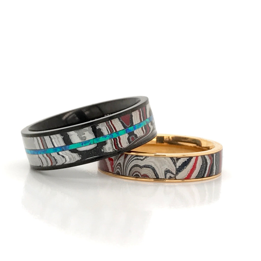 His and Hers Matching Wedding Bands Opal Fordite Ring Set