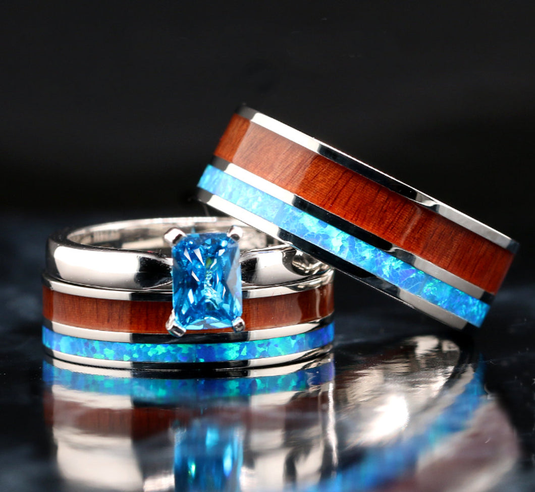His and Her Opal Wedding Ring Set Wood Wedding Bands Stainless Steel Sterling Silver