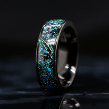 Load image into Gallery viewer, Opal Wedding Ring Meteorite Wedding Band