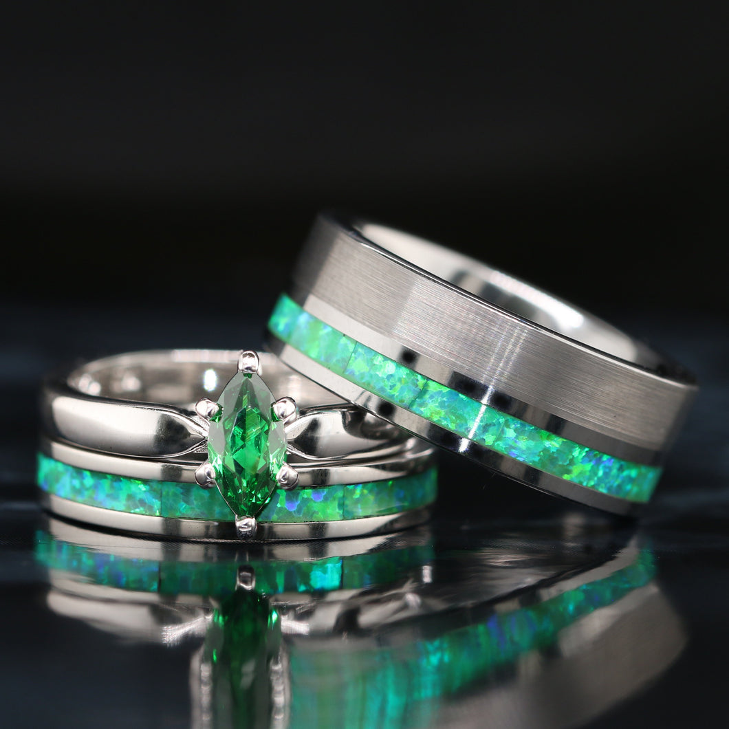 His and Her Green Opal Wedding Ring Set Green Opal Rings