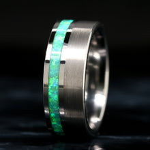 Load image into Gallery viewer, Tungsten Green Opal Ring Purple Opal Wedding Band