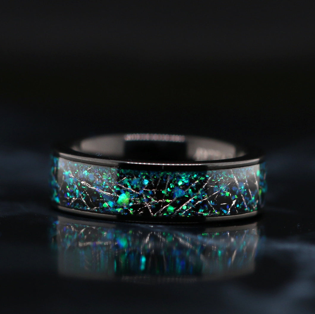 Opal Wedding Ring Meteorite Wedding Band