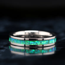 Load image into Gallery viewer, His and Her Green Opal Wedding Ring Set Green Opal Rings