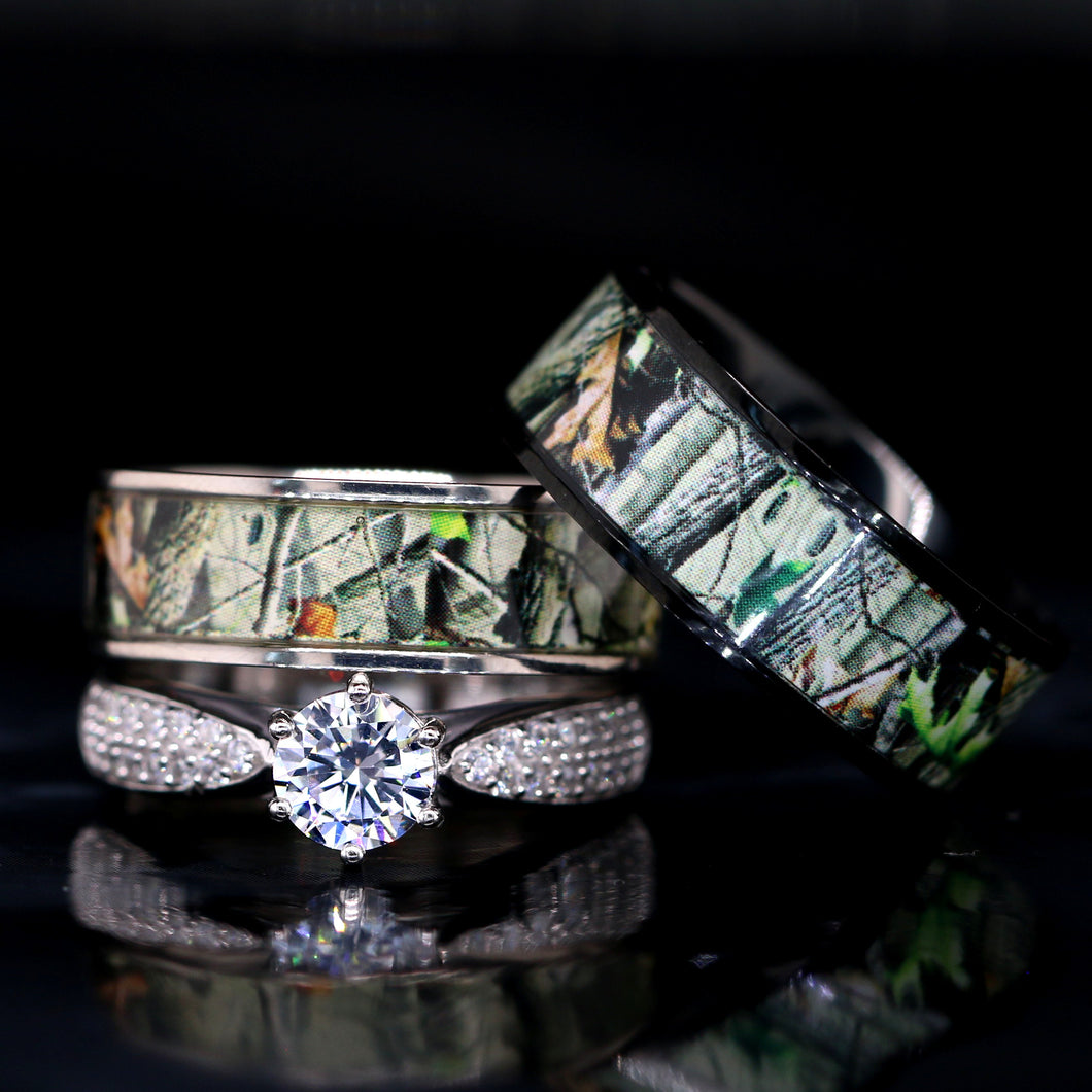 His and Her Camo Wedding Ring Set Titanium and Sterling Silver Engagement Rings