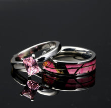 Load image into Gallery viewer, 4 pc His and Her Camo Wedding Ring Set Stainless Steel Sterling Silver Camo Rings