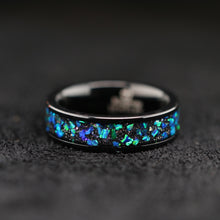 Load image into Gallery viewer, 2 pc Opal Ring Set Trillion Solitaire Ring